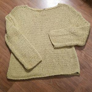 Eileen Fisher Cotton Knit Green Sz Small Sweater
