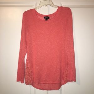 Tops - Coral sweater, lace sweater, thin sweater