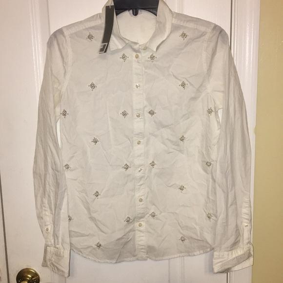 5541da89cce9 jcpenney Tops | Jcp Womens Beaded Button Down Long Sleeve Shirt ...