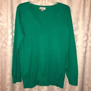LOFT Emerald Green Cotton Sweater (Size Large)