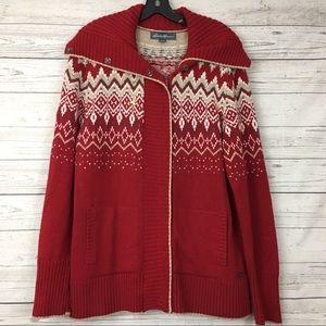 Eddie Bauer fair isle christmas collar zip sweater