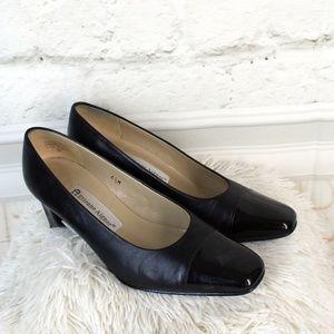 "Etienne Aigner • Black Leather 2"" Heels"