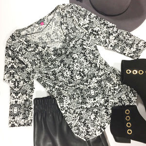 Vince Camuto Black and White Faux Wrap Blouse