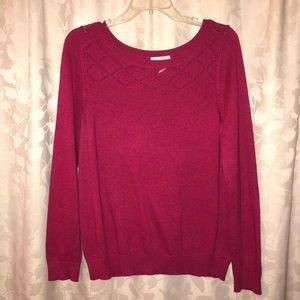 LOFT Pink Berry Sweater (Size Large)