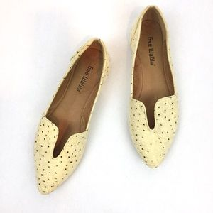 GEE WAWA Gold Dot Leather Loafers Flats \\ Sz 7