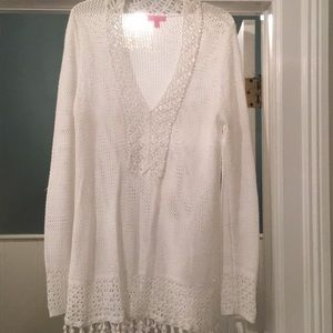 Lilly white tunic crochet sweater NWOT