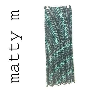 Mid Rise Stretch Green and Black Aztec Maxj Skirt