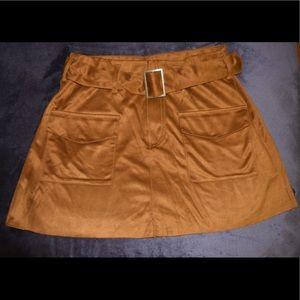 Brown velvet skirt