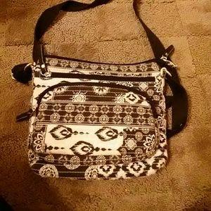Handbags - Black and White Patterned crochet cross body purse