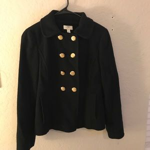 LOFT Wool Double Breasted Pea Coat Gold Buttons