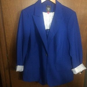 Vince Camuto One Button Stunning Blue Blazer