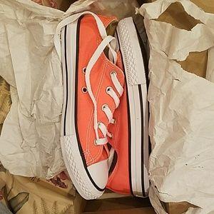 Youth Size 2 Hyper Orange Converse