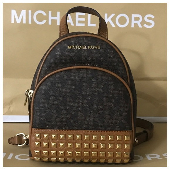 9163b6e9936d Michael Kors Bags | Nwt Mk Abbey Xs Studded Backpack Brownacorn ...