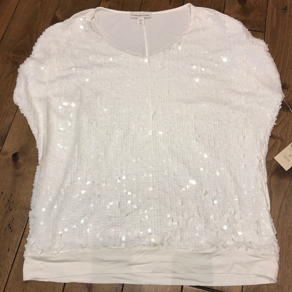 94ba319b8c Coldwater Creek Tops | White Sequined Top | Poshmark