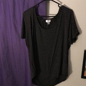 Simple black w white stripe v neck