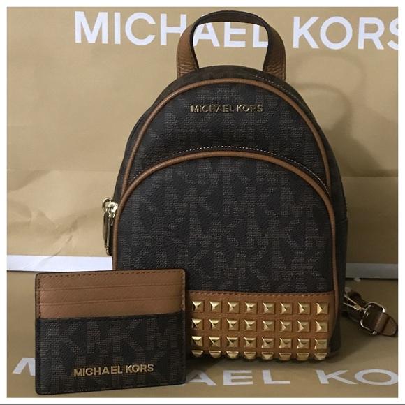8abeedbd545e Michael Kors Bags | Nwt Mk Abbey Xs Studded Backpack Cc Holder ...