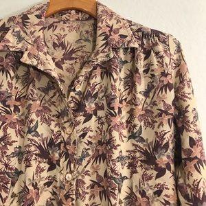 Vintage Hummingbird & Floral Print Long Sleeve Top