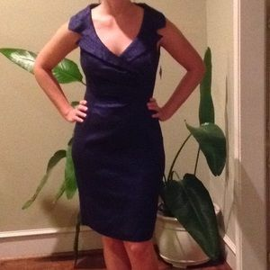 Kay Unger sz 6 dress blue/black reptile print NWT