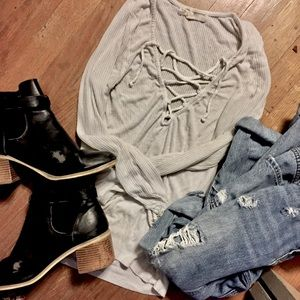 Ribbed lace up tee /Project social t