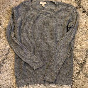 Lace bottom Loft sweater