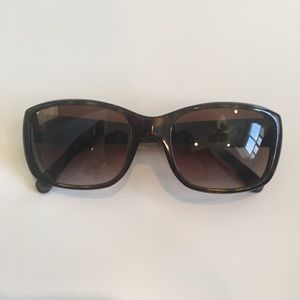 CHANEL Rectangular Brown Quilted Leather Sunglass