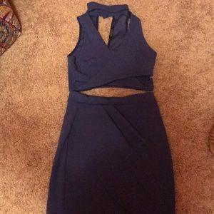 Blue two piece cutout dress