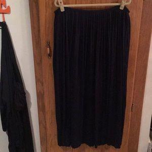 Pleated Navy Maxi Skirt