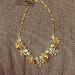 NWT J.Crew Crystal flowers and gold petal necklace