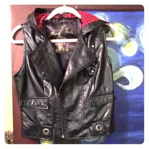 Almost famous Vegan leather vest with hood