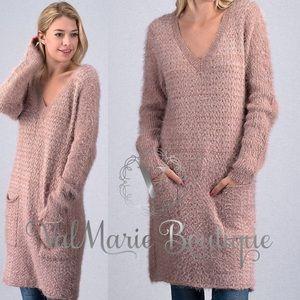 Dusty Pink Long Line Fuzzy Sweater