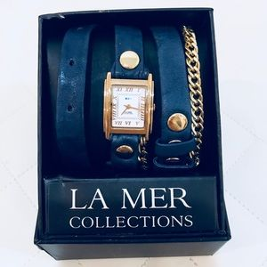 La Mer Wrap Around Leather & Gold Watch