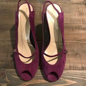 Kate Spade Plum Peep Toe Heel