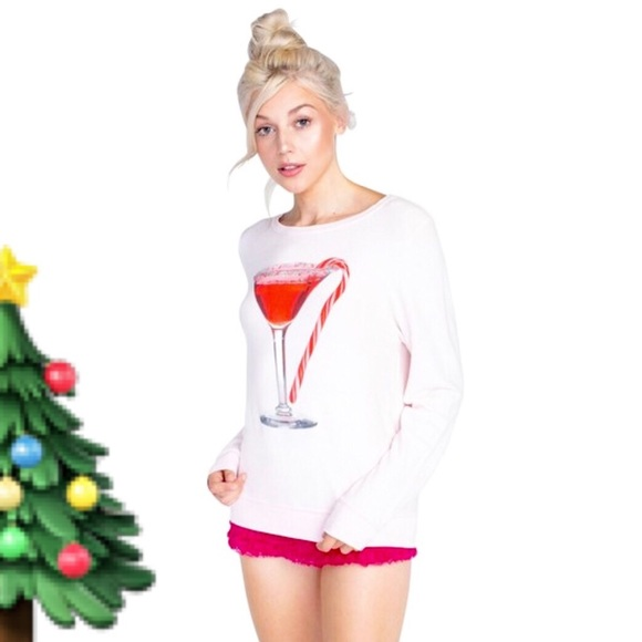 2074f62c4d0190 Wildfox Sweaters | Sale Candy Cane Martini Christmas Sweater | Poshmark