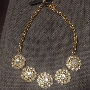 NWT J.Crew Crystal flower blossom gold necklace
