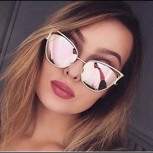 Accessories - Rose Gold Mirrored Cat Eye Statement Sunglasses