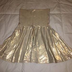 Gold American Apparel Skater Skirt