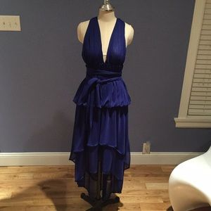 Blue Cocktail Backless Hi-Lo Party Dress Size 6