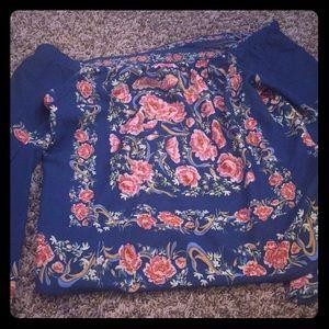 Cobalt off-the-shoulder top with rose designs