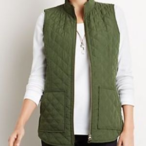 J. Jill Heritage Green Quilted Zip Up Vest