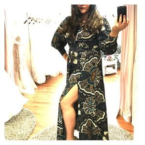 Sexy long sleeve printed dress