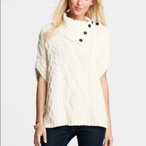 BRAND NEW WITH TAG CREAM CABLE KNIT PONCHO