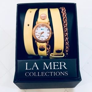 La Mer Wrap Around Leather & Rose Gold Chain Watch