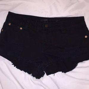 Forever 21 Black Ripped Denim Shorts