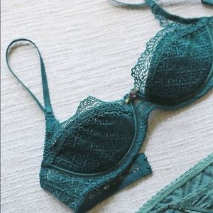NEW Free People Teal Balconette Lace Bra