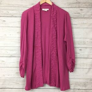 Coldwater Creek ribbed ruched open cardigan
