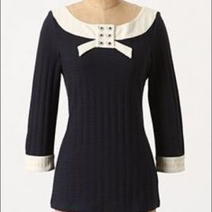 Anthropologie Bow Detail Knit Tunic Top