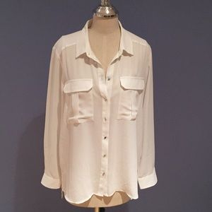 White Silky Blouse w Front Cargo Pockets Size 10