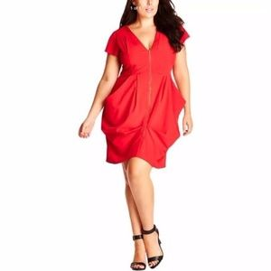 City Chic Ruched Front Tangerine Dress L