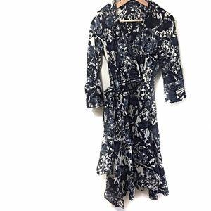 Zara Basics Midi Dress SZ Medium Black Gray Print