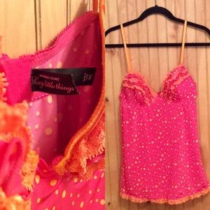 VS Sexy Little Things Pink/Orange polkadot top 36c